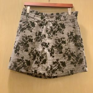 Black and grey floral mini skirt